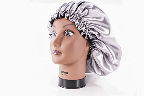 (Kids, SILVER) 20 Inch Reversible Luxuries Pure Satin Hair Bonnet - sleep cap Safe For All Hair Types - Top hair wrap for sleeping over 50 colors & 4 sizes Available (Microwave Hair Conditioning Cap compare prices)