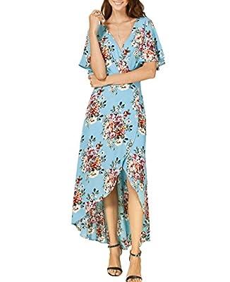 Azalosie Wrap Maxi Dress Short Sleeve V Neck Floral Flowy Front Slit High Low Women Beach Summer Boho Dress