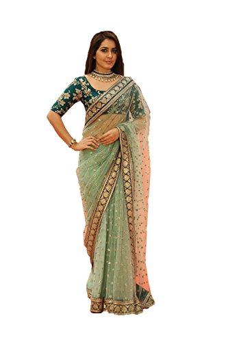 daindiashop-USA Women's Indian Designer Party Wear Saree Sari One Size Green - Net Sarees In India