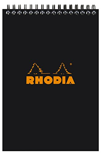 Rhodia Wirebound Notepads - Lined 80 sheets - 6 x 8 1/4 in. - Black cover Black N Red Ruled Square