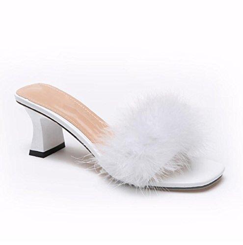 Indoor Flip Kunstpelz Hausschuhe Heels Outdoor Damen Flop White TWGDH High Für Casual Sandalen Open Toe USW7q