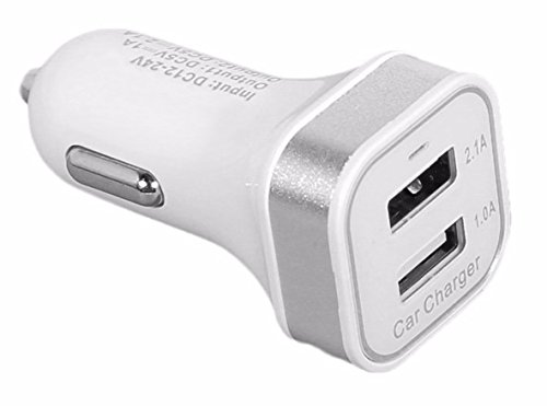 ReadyPlug USB Car Charger for: Ematic Portable Bluetooth Speaker ESB106 (White, Glows Blue)