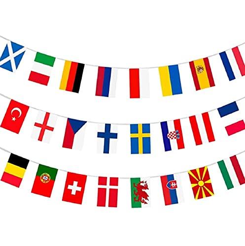 Kavitoz 2021 Europapokal Flaggenkette Girlande 24 Stück International Länderflaggen Fahnenkette Flaggen Dekorationen für Bar, Sportvereine, Fußball-WM-Party, Party der, Internationale Feierlichkeiten