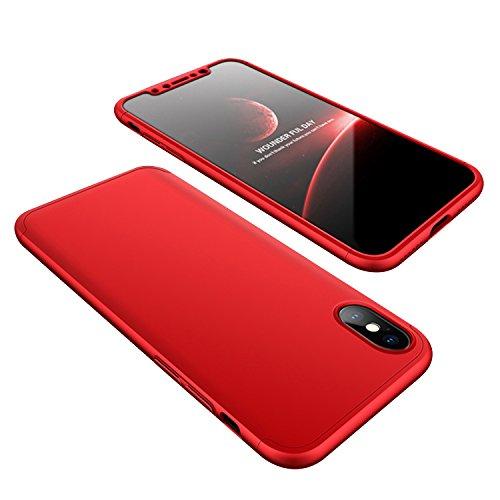 Funda iPhone 7, iPhone 7 Funda Case, PLECUPE la moda Ultra Thin Desmontable 3 en 1 Dura PC Plástico Case Cárcasa Caja Cover, Ultra Delgado Fino 360 Grados Integral Cobertura Completa Anti Rasguños Ant Rojo