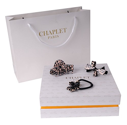 Chaplet Paris Noble Hair Clips Gift Set 3 Pure Handmade Leopard Hair Claws Barrettes Best Gift Idea for Women Friends