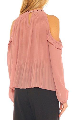 Camicia Scoperte Plissè di Key Donna Spalle Georgette In Pallido Rosa qS0Bw5