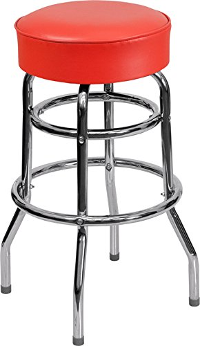 Chrome Seat Ring Bar Stool (Flash Furniture Double Ring Chrome Barstool with Red Seat)