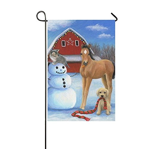 Baocnber Holiday Decor Outdoor House Flag- Horse Cat Snowman Dog Red Scraf 28x40 Inch Double Sided Garden Flag (Cat Holiday Snowman)