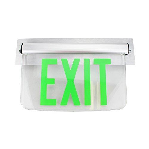 Dual Lite Hubbell Lewsgxna Le Series Edge-Lit Led Exit Sign, Wall Mount, No Arrow, Green