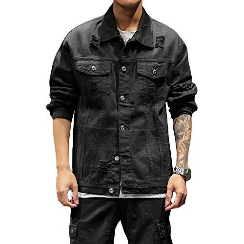 INVACHI Mens Distressed Denim Jacket Retro Ripped Rugged Jeans Trucker Jacket