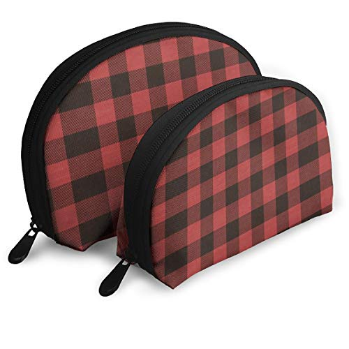 Red Buffalo Plaid Warm Wishes Christmas Envelope 2pcs Trendy Portable Bags Clutch Pouch- Half Moon Cosmetic Beauty Bag for Women,Travel Handy Organizer Pouch
