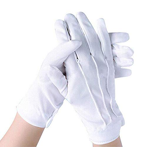 Cotton White Gloves - Unisex Gloves - Worn with a Dress - Check Antique Jewellery - Elegant (1 Pair)