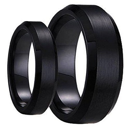 Swinger Black Ring Set His & Her's Matching 6mm / 8mm Black Brushed Center with Polished Edge Tungsten Carbide Wedding and Engagement Bridal Band Set