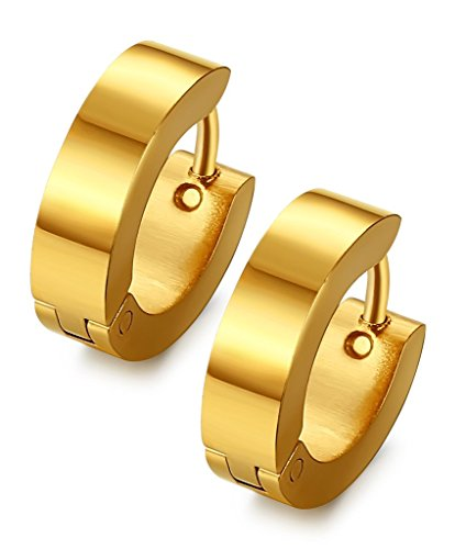 Jstyle Stainless Steel Unique Small Hoop Earrings for Men Huggie Earrings Gold