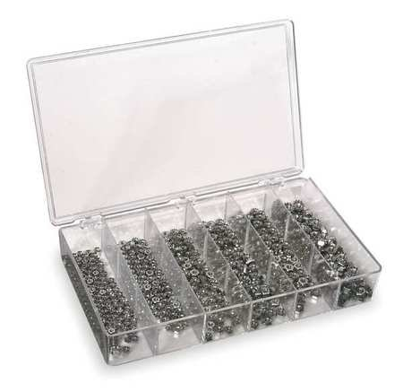 Plain Finish 18-8 Stainless Steel Keps w/ External Tooth Washer Hex Lock Nut Assortment, 600 pc.