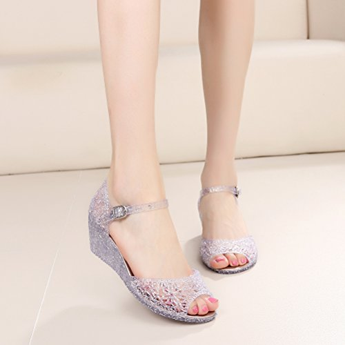 b7f144ceb4 OMGard Womens Summer Heels Sandals Peep Toe Wedge Glitter Jelly Shoes Ankle  Strap Platform durable service