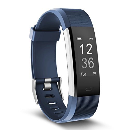 moreFit Fitness Tracker, Slim HR Plus Heart Rate Smart Bracelet Pedometer Wearable Waterproof Activity Tracker Watch, Silver/Blue