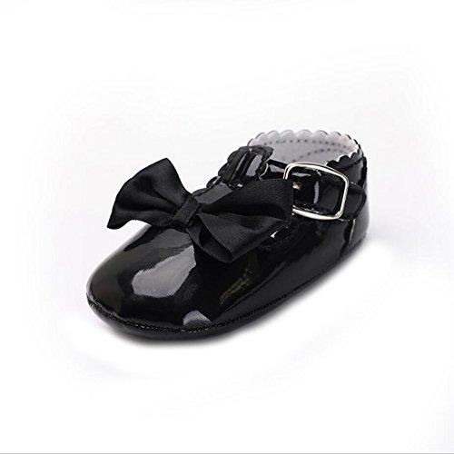 YYF Baby-Schuhe Mary Jane Shoes PU Leder Weiche Sohle mit Bowknot Firstwalk Anti-Slip Schuhe Schwarz