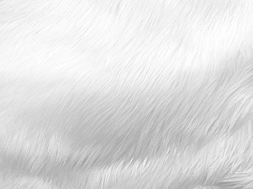Faux Fake Fur Solid Shaggy Long Pile Fabric - White - 60