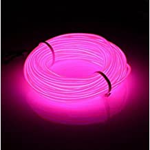Lysignal 9ft Neon Glowing Strobing Electroluminescent Light Super Bright Battery Operated EL Wire Cable for Cosplay Dress Festival Halloween Christmas Party Decoration (Pink)