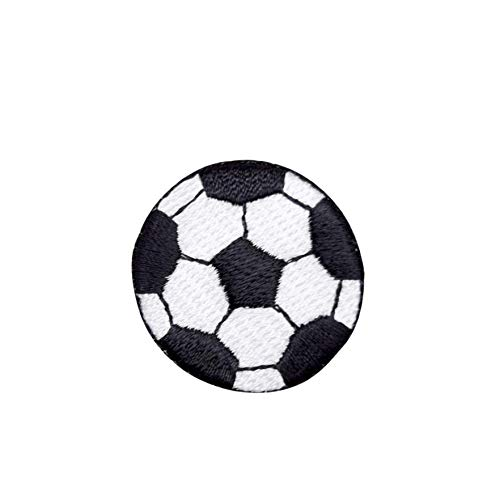 - Soccer Ball - Black/White - Iron on Embroidered Applique Patch