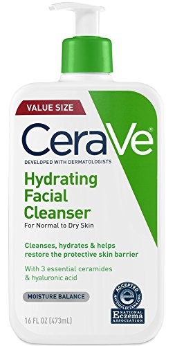 CeraVe Hydrating Face Wash | 16 Ounce | Daily Facial Cleanser for Dry Skin | Fragrance Free (Best Moisturizing Face Wash For Dry Skin)