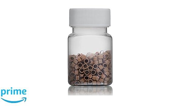 Micro anillo cuentas para extensiones de pelo 500 x 5 mm (rosca), luz de color marrón: Amazon.es: Belleza