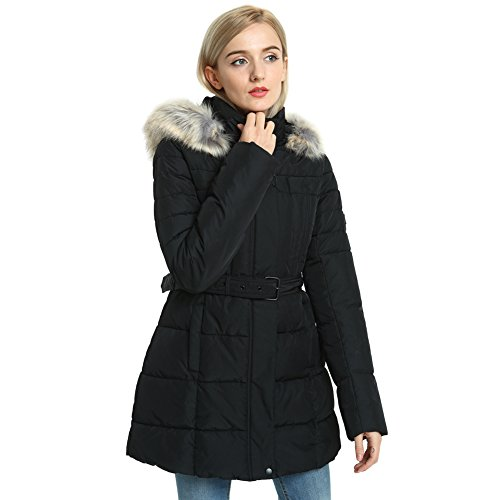 SECOND COLOR Women's Thickened Jacket, Ladies Long Quilted Down Alternative Hooded Stylish Self-Belt Long Puffer Coat With (Fur Belt Black Long Jacket)