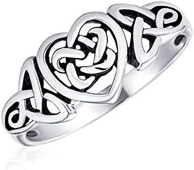 Bling Jewelry Viking Irlandais Noeud Celtique Amour Infini Couples De Mariage Bague Tungst/ène pour Femme Homme 7MM Ton Argent/é Mat