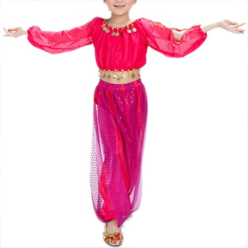 [BellyLady Kid Tribal Belly Dance Costume, Harem Pants & Top Set For Christmas ROSERED-L] (Genie Outfit)