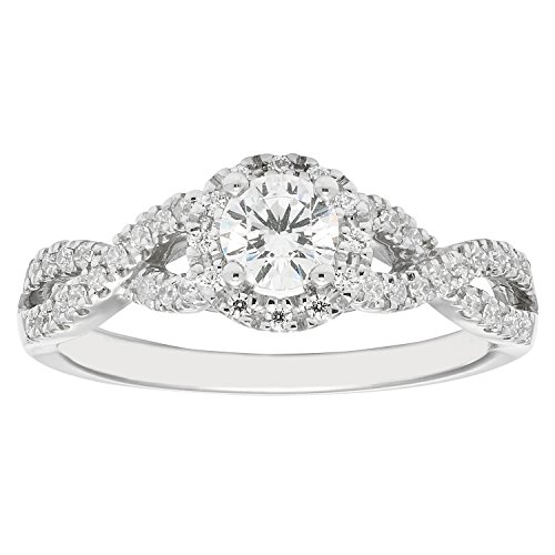 14K White Gold .53 c.t. TW Round Cut Diamond Halo Engagement Ring
