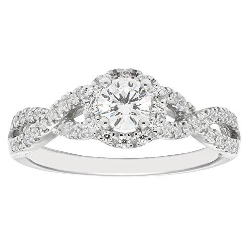 14K White Gold .53 c.t. TW Round Cut Diamond Halo Engagement Ring