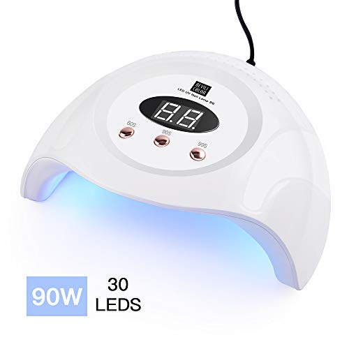 LED UV Nail Lamp -90W with 30 pcs Led Nail Lamps, Nail Dryer for Gel Nails Faster Curing Gel Polish with 30 UV Lamp Beads and Infrared Auto Sensor - Professional Curing Light