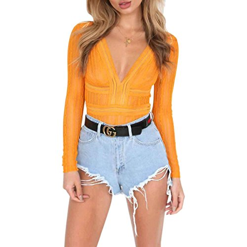 Womens Cut Out Lace Jumpsuits (Yellow) - 8