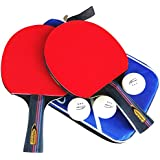 Ahomie 2 Pack Ping Pong Paddles, Pro Premium Table Tennis Racket Set with 3 Professional Game Balls, Soft Sponge Rubber, and Carry Bag Included