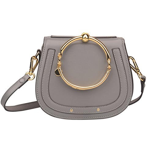 Ring Bag (Ainifeel Women's Leather Handbags with Bracelet Handle On Grey(Leather+Suede))