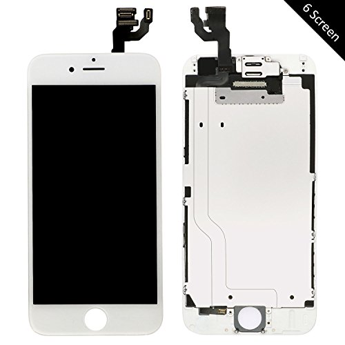 Pre-Assembled LCD Display and Touch Screen Digitizer Replacement for iPhone 6 (4.7 inch), Compatible with A1549, A1586, A1589 iPhone 6 Model, Including Repair Tools (6 White)