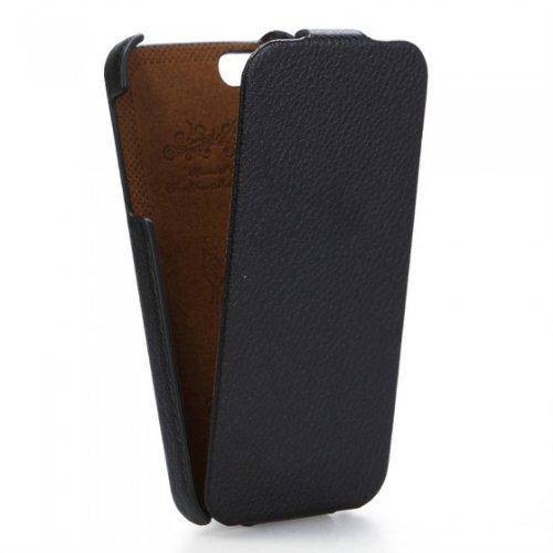 Leder-Flip-Hülle / Leder-Klapphülle für iPhone 5 / 5S (besonders schlank, inklusive 2 Bildschirmschutzfolien), Schwarz
