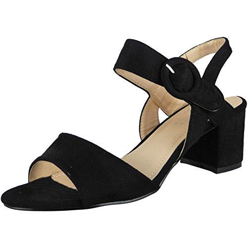 Fort Regard Sandales Pour Femmes Parti Dames Boucle Bracelet Slingback Chaussures Été Mi Talon Taille 3-8 Noir