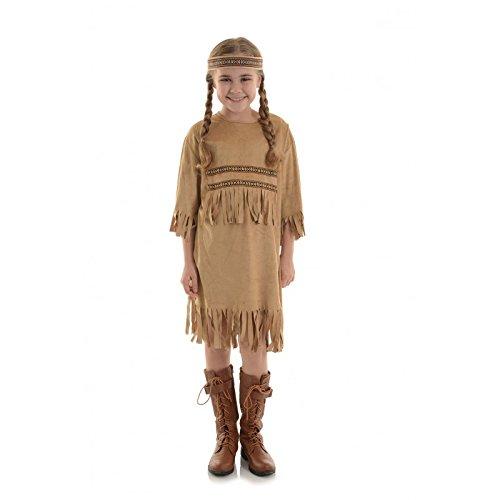 Underwraps Big Girl's Children's Indian Girl Costume - Medium 6-8 Childrens Costume, tan, Medium