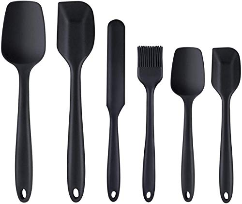 Silicone Spatula Heat Resistant Premium Silicone Spatula Set One-Piece Seamless Spoon Non-Stick Flexible Rubber Utensil for Kitchen Cooking and Baking 6 packs (black)