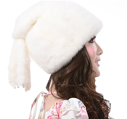 YR Lover Women's Warm Earmuffs Mink Fur Sleeve Cap Fashion Beret Hat