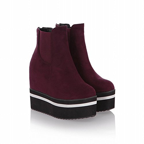 Latasa Boots Elastic high Fashion red Inside Wedge Heel claret Womens Chelsea Platform Ankle rwArq