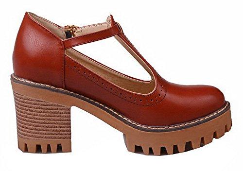 Amoonyfashion Femme Solide Pu Talons Hauts À Bout Rond Pompes-chaussures Marron