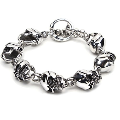 (23cm 316L Stainless Steel Skull Toggle Bracelet Silver Tone Men Jewelry by 24/7 store)