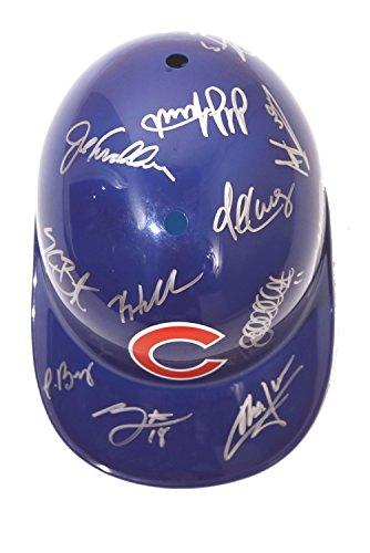 Autographed Baseball Batting Helmet (Chicago Cubs 2016 Team Autographed Signed Souvenir Full Size Batting Helmet Bryant Rizzo Zobrist Arrieta)