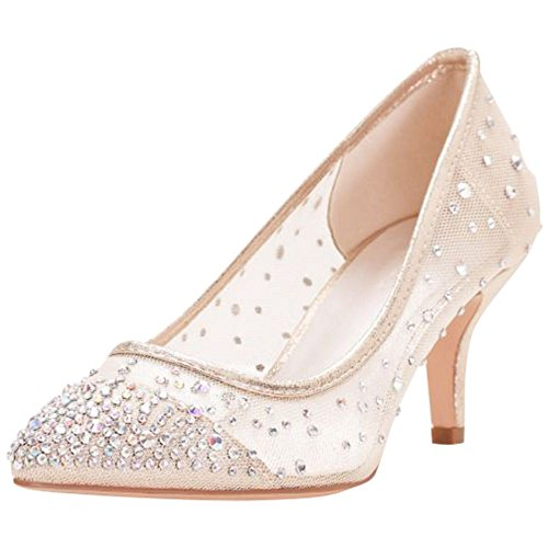 Mesh Ladies Pumps - David's Bridal Crystal-Studded Mesh Pointed-Toe Pumps Style HURLEY01, Nude, 9