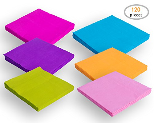 Colorful Cocktails (TWY 120 Pieces Beverage Paper Napkins 2-Ply Decorative Paper Table Napkins for Party, Mixed Color)