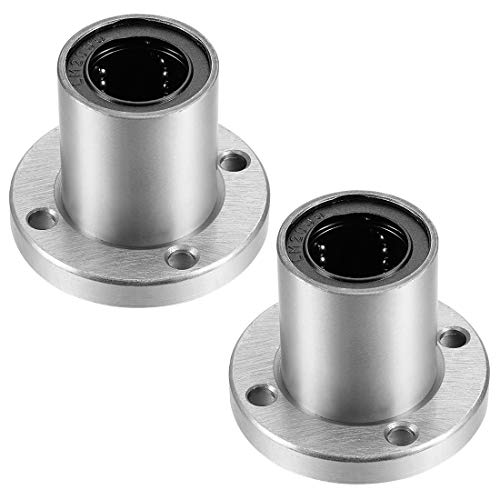 uxcell LM20UU Round Flange Linear Ball Bearings, 20mm Bore Dia, 32mm OD, 42mm Length Pack of 2