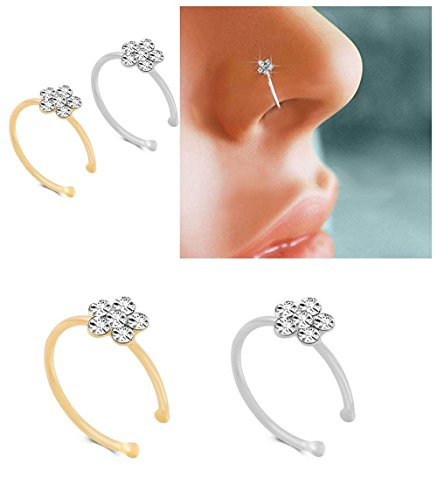 KUYIUIF Silver Gold Thin Diamond Flower Clear Crystal Nose Ring Stud Hoop-Sparkly Crystal Nose Ring (2 -
